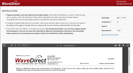 online contract - Wave Direct